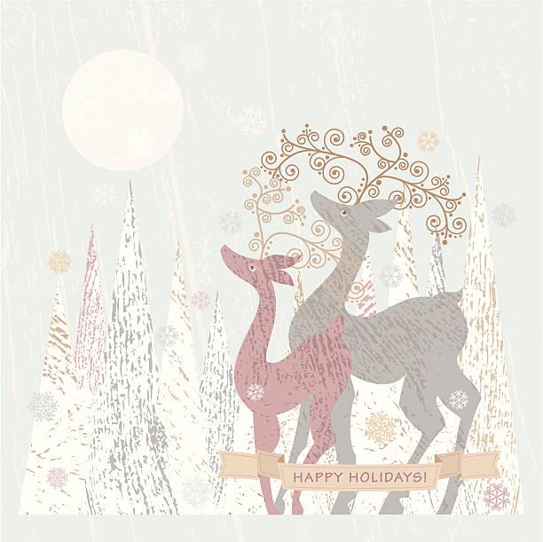 illustrazioni stock, clip art, cartoni animati e icone di tendenza di festività con renne - love word