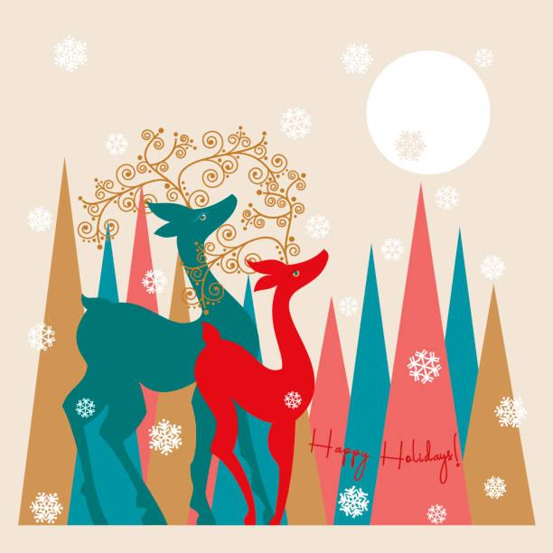 Holiday Reindeer. Winter Holidays. vector art illustration