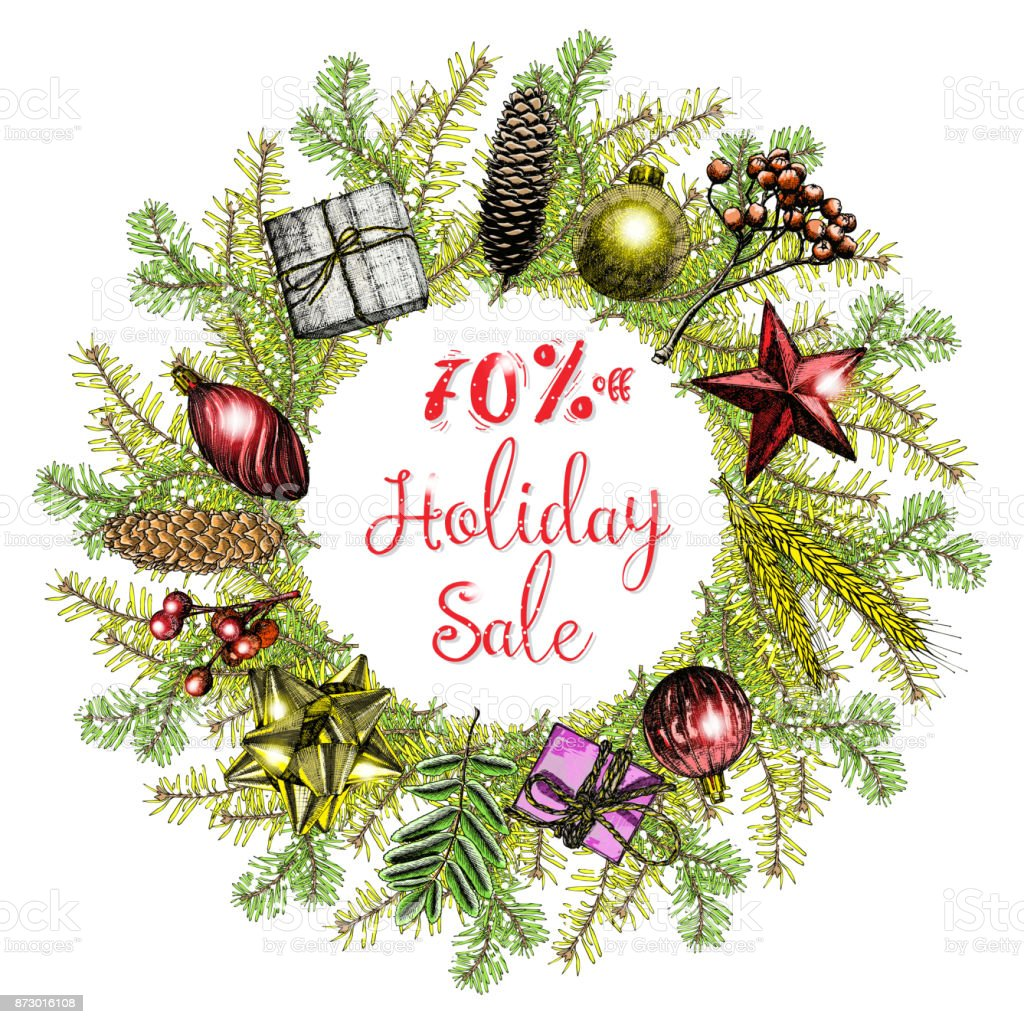 holiday sale 70 percent off christmas and new year sale banner on festive background winter