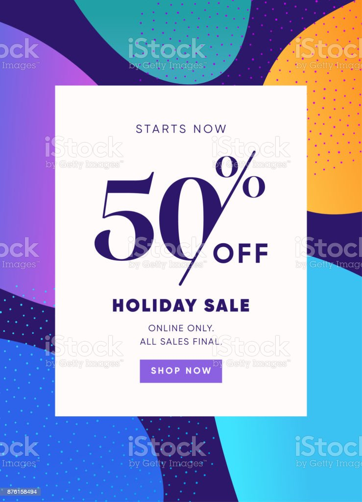 Holiday Sale Banner, 50% OFF Special Offer Ad. Discount Promotion Vector Banner. Price Discount Offer. Season Sale Promo Sticker colorful background. vector art illustration