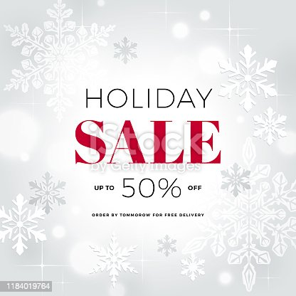 Holiday, winter sale banner with snowflakes.