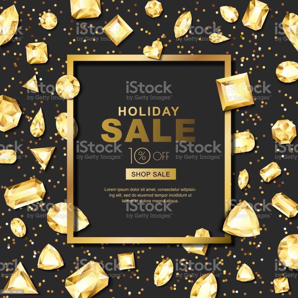 休日販売ベクトル バナー 3 d 黄金宝石、宝石。異なるカット ゴールドの光沢のあるダイヤモンド。 ベクターアートイラスト