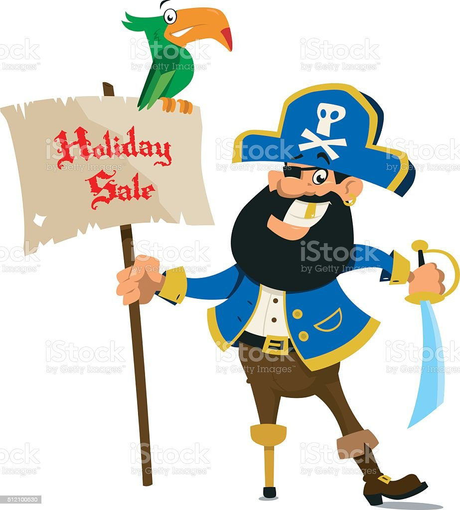 Holiday Sale with jolly Pirate vector art illustration