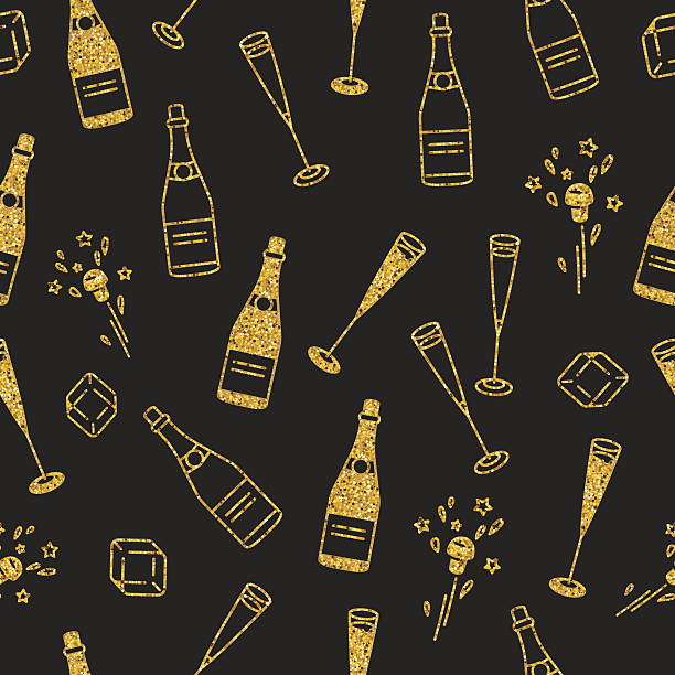 holiday seamless pattern with cham and extracted cork. - champagnerglas stock-grafiken, -clipart, -cartoons und -symbole