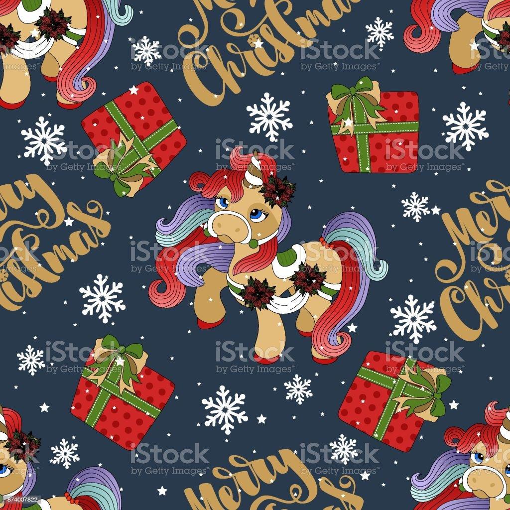 holiday seamless pattern with christmas unicorn and festive elements vector illustration royalty free - Christmas Unicorn