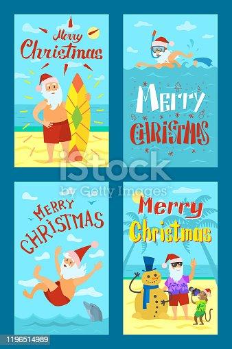 istock Holiday Seascape Image Shooting Santa Claus Vector 1196514989