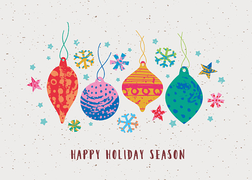 Vector greeting card featuring cute Christmas ornaments made with hand-painted textures and funky stars and snowflakes. Minimalist and naive cute style.