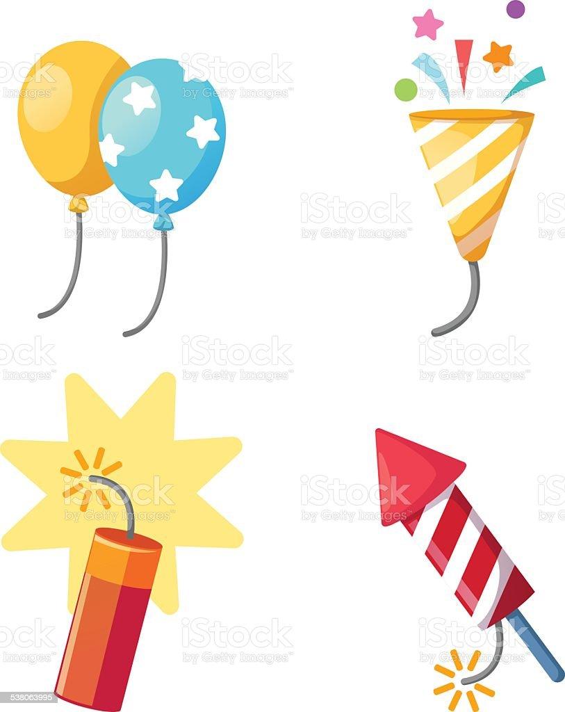 Holiday set firecracker,balloon,popper party isolated vector ill vector art illustration