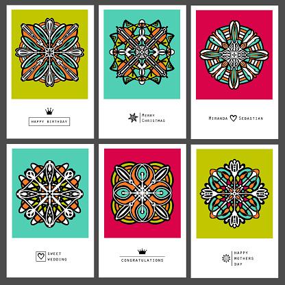 Holiday set greeting card of mandala