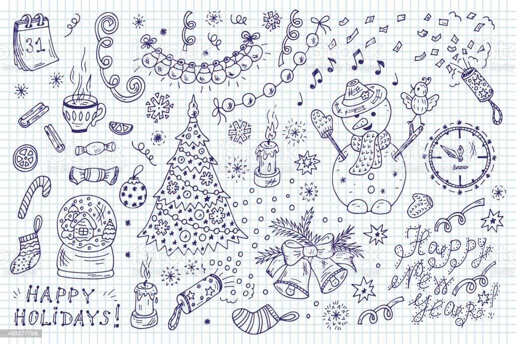 Decorazioni Di Natale Disegni.Vacanze Set Disegno A Mano E Schizzi Anno Nuovo Caratteri