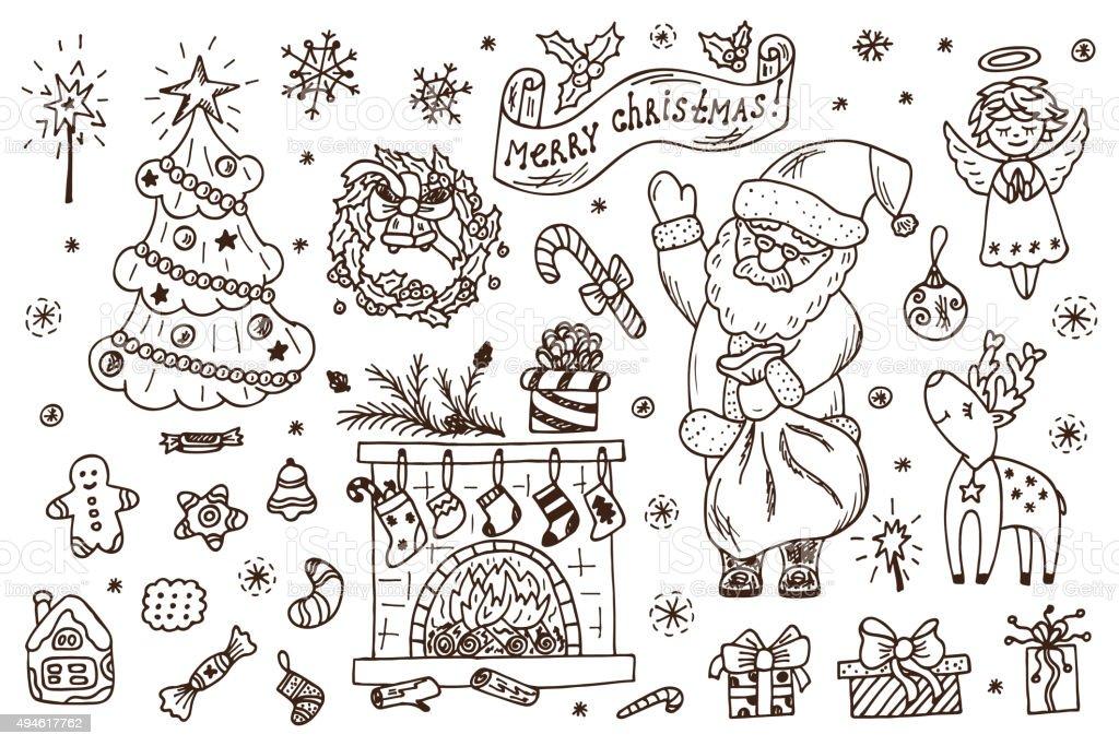 Decorazioni Di Natale Disegni.Vacanze Set Buon Natale Disegno A Mano E Schizzi Di Natale