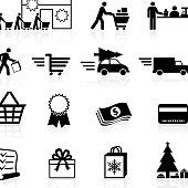 Holiday shopping season black and white icon set