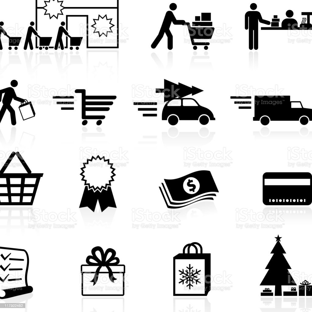 Holiday Shopping season black and white vector icon set vector art illustration