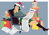Exhausted woman in a Santa hat sitting with a long shopping list of gifts, surrounded by bags and gift boxes, vector illustration, EPS 8