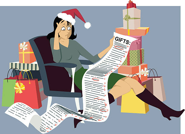 holiday shopping - stress stock illustrations, clip art, cartoons, & icons