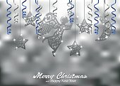 Holiday silver background with figures of angel, stars, moon