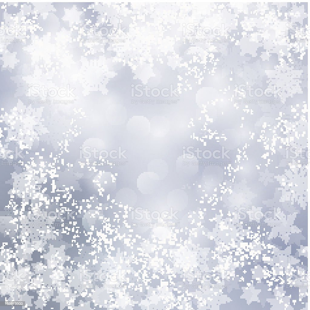 Holiday silver background with snowflakes and bokeh lights royalty-free stock vector art