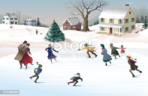An old-fashioned look at winter holiday celebration with ice skating on the frozen village pond. Skaters and Christmas tree on separate layers.