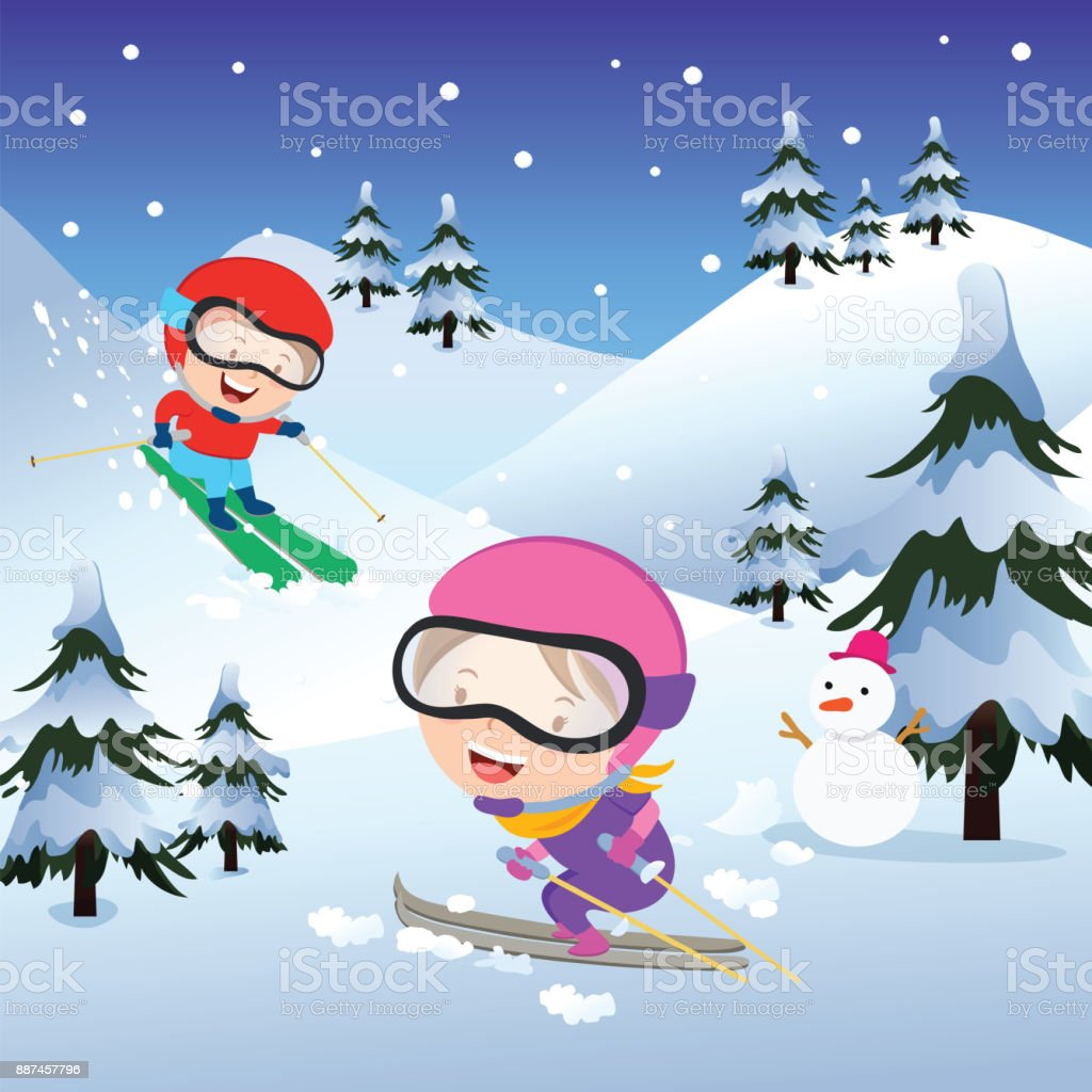 のスキー場 イラストレーションのベクターアート素材や画像を多数ご
