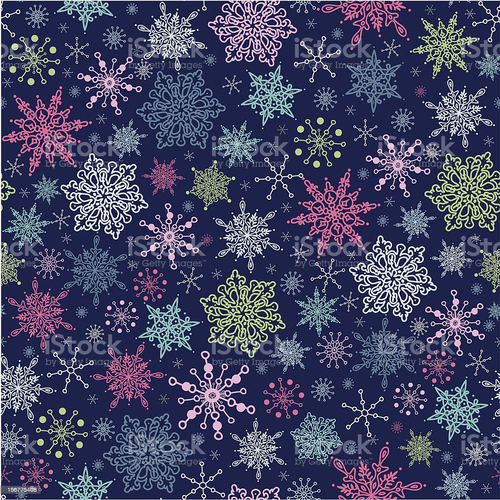 Holiday Snowflakes Seamless Pattern Background royalty-free stock vector art