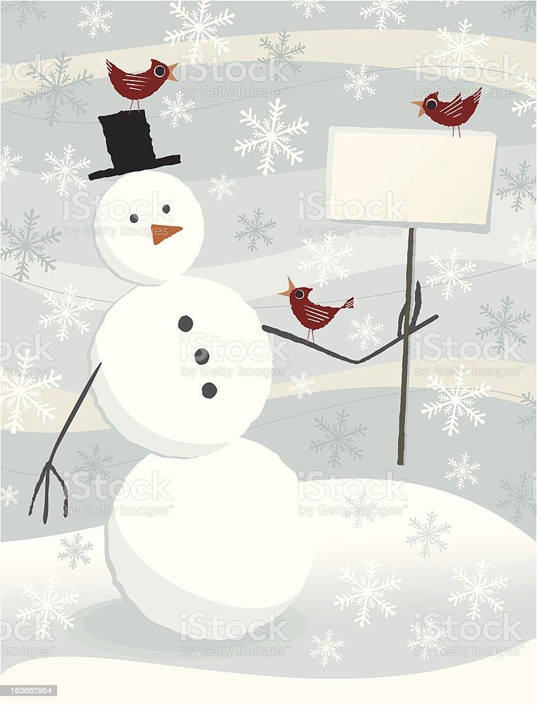Ilustración de Navidad Muñeco De Nieve Con Cartel En Blanco y más ...