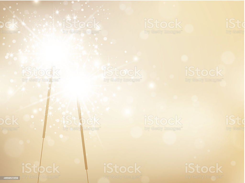 Holiday Sparklers Golden Background vector art illustration