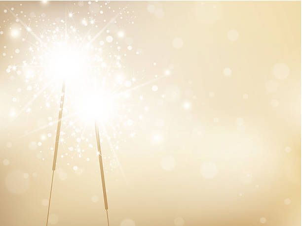 Holiday Sparklers Golden Background Holiday Sparklers Golden Background, Copyspace For Your Greetings sparkler stock illustrations
