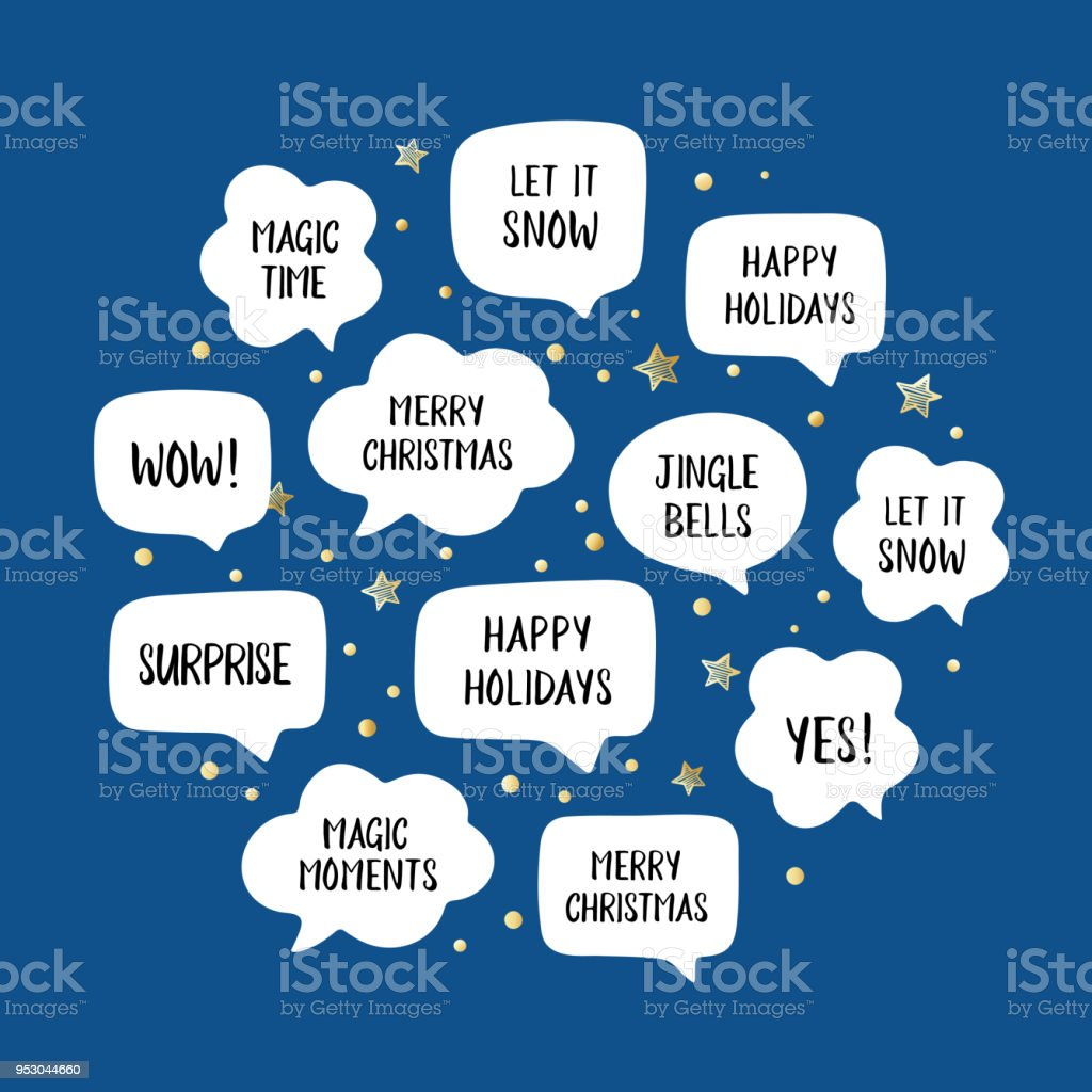 Holiday Speech Bubbles Set With Christmas Greetings Merry Christmas