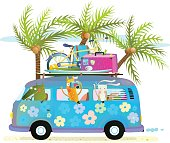 Touristic summer holidays cartoon illustration for kids with baby animals travelling. Crocodile, fox and rabbit on vacation, driving a blue bus. Vector illustration.