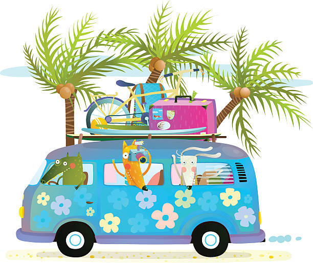holiday summer bus with beach tropical vacation tourists baby animals - lustige fahrrad stock-grafiken, -clipart, -cartoons und -symbole