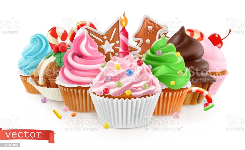 Urlaub Susses Dessert Kuchen Kuchen Realistisch 3dvektor Stock Vektor