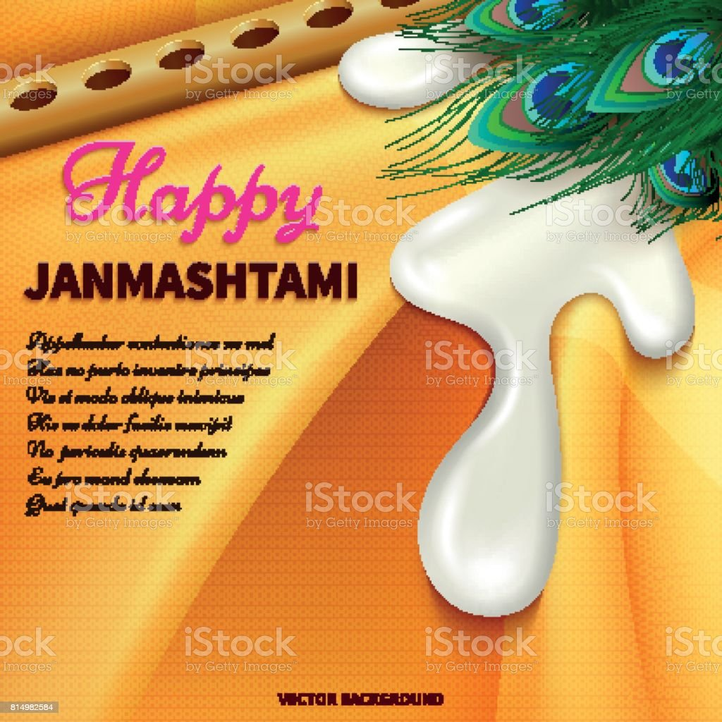 holiday symbols krishna janmashtamifestive fabric yoghurt peacock