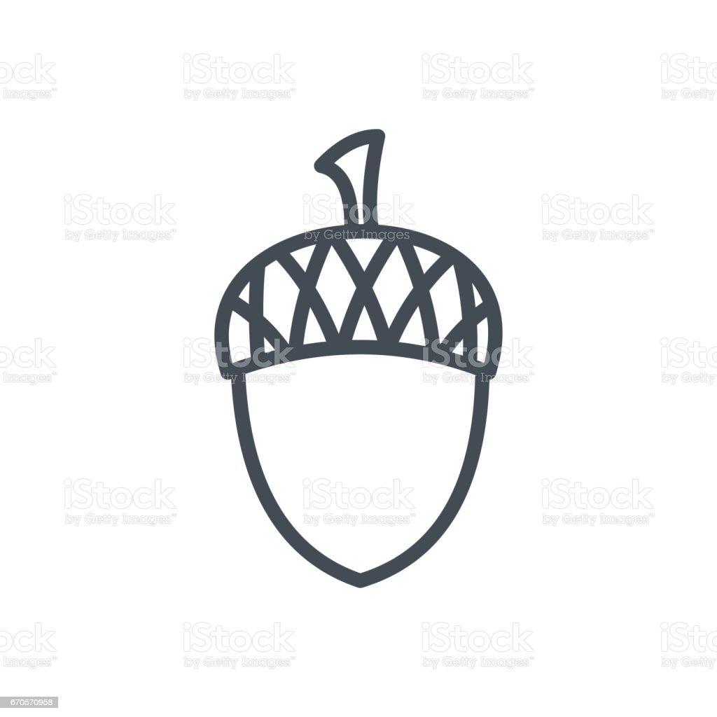 Holiday Thanksgiving Day Line Icon Acorn vector art illustration