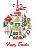 Travel Holidays Around the World Christmas Tree Ornament Icons Landmarks Tourist Vacation Destination Stickers in Round Shape