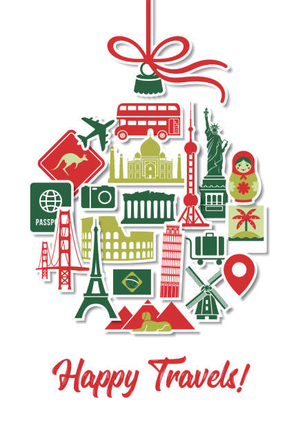 Holiday Travel Christmas Tree Ornament Icons Landmarks Vacation Stickers vector art illustration