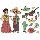 MEXICO Holiday Travel Folk Latin Vector Illustration Set