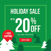 Holiday Up To 20% Off Sale Advertisement Template Vector Illustration