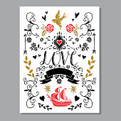 Holiday Valentines day card, hand drawn icons set isolated, calligraphic text