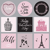 Holiday Valentines day, wedding cards set, calligraphy, text, lettering. Hand drawn icons isolated
