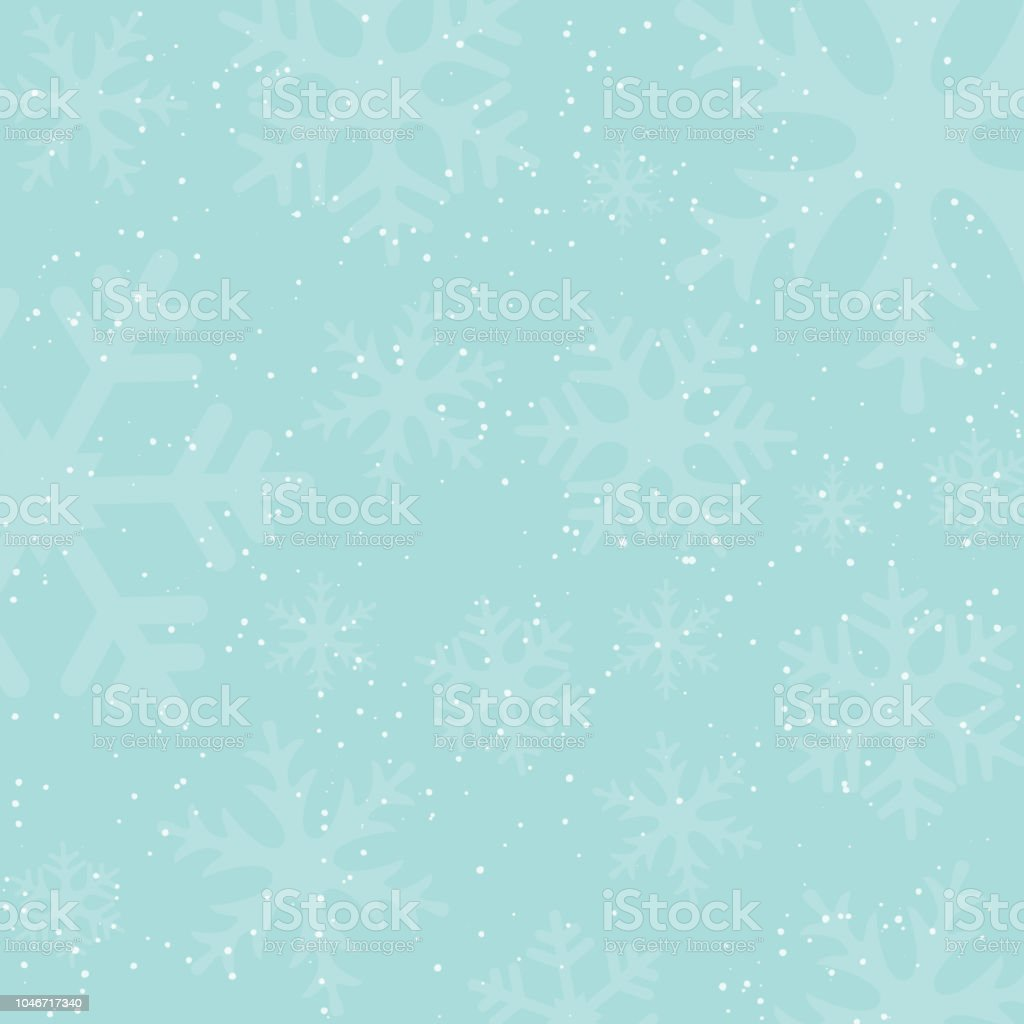 Holiday winter background with falling snow and snowflake silhouettes. Vintage colors. New Year or Christmas backdrop. Vector Illustration. - Royalty-free Abstract stock vector