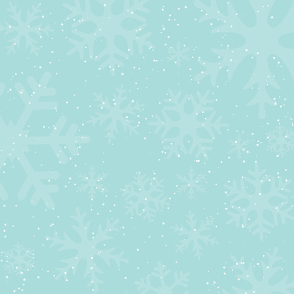 Holiday winter background with falling snow and snowflake silhouettes. Vintage colors. New Year or Christmas backdrop. Vector Illustration.