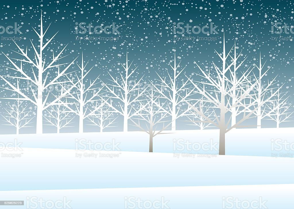 Holiday winter landscape background with tree vector art illustration