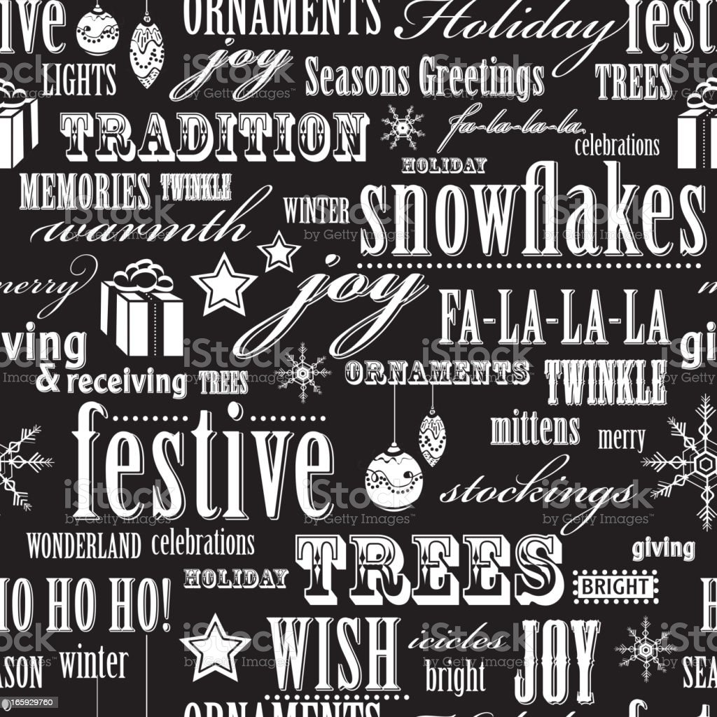 Holiday words repeat seamless pattern background royalty-free stock vector art