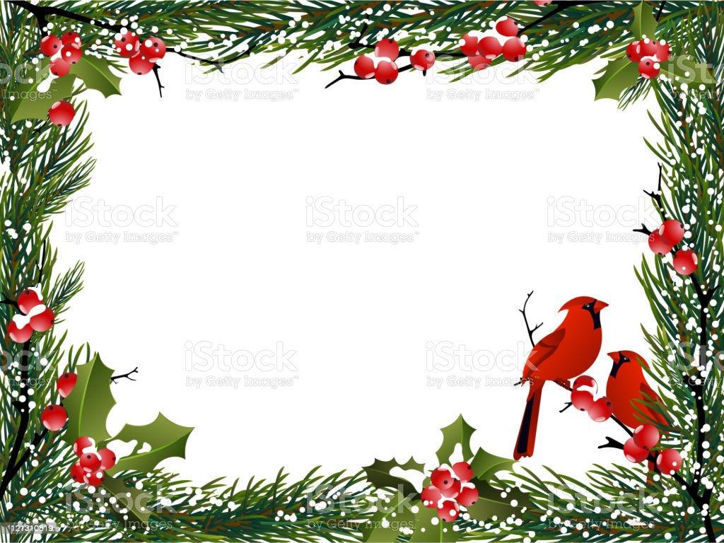 HolidayBackground with Red Cardinals royalty-free holidaybackground with red cardinals stock vector art & more images of berry fruit