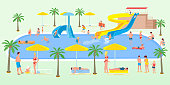 Holidaymakers on vacation vector illustration