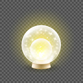 Shining crystal ball on a transparent background. Magic web icon concept. Glowing magic sphere with light effects