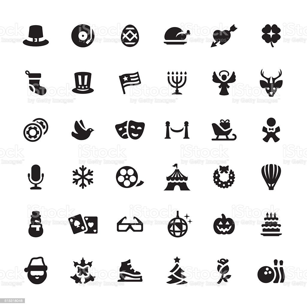 Holidays and Celebrations vector symbols and icons vector art illustration