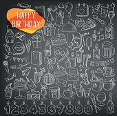 holidays and party icons. happy birthday