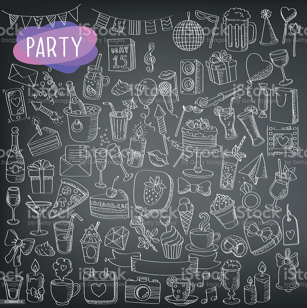 holidays and party icons vector art illustration