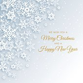 Greeting holiday background with white snowflakes.